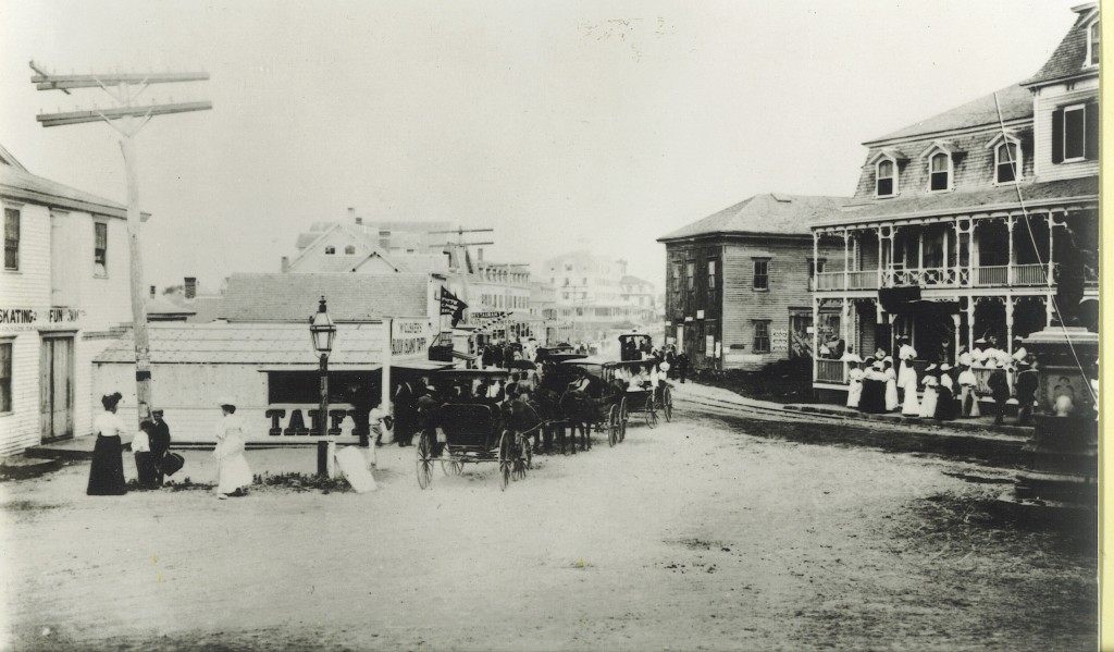 View down Water Street in the late 1880s when the building housed the roller-skating rink. Block Island Taffy was produced and served to the right of the future Empire Theatre.
